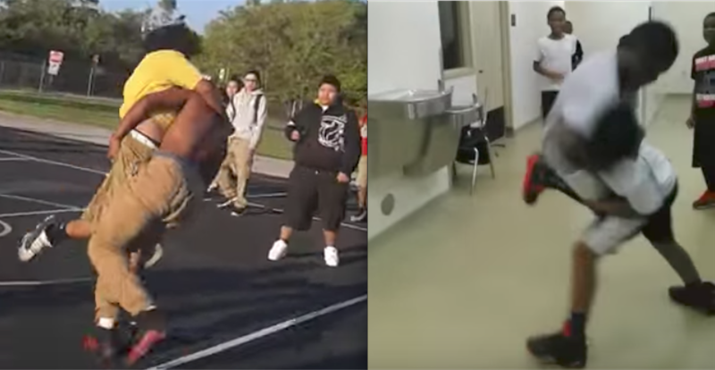 Students look on in Youtube videos of fights at two Miami-Dade middle schools. Dozens of similar videos were uploaded by users during the last school year.