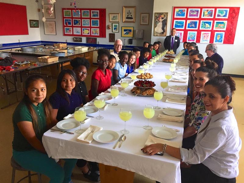 Fifth graders and faculty enjoy high tea with Guatemalan consul Mario René Azmitia (far end) at South Grade Elementary in Lake Worth on May 22, 2017.