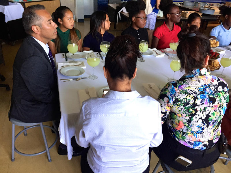 Fifth graders and faculty enjoy high tea with Guatemalan consul Mario René Azmitia (left) at South Grade Elementary in Lake Worth on May 22, 2017.