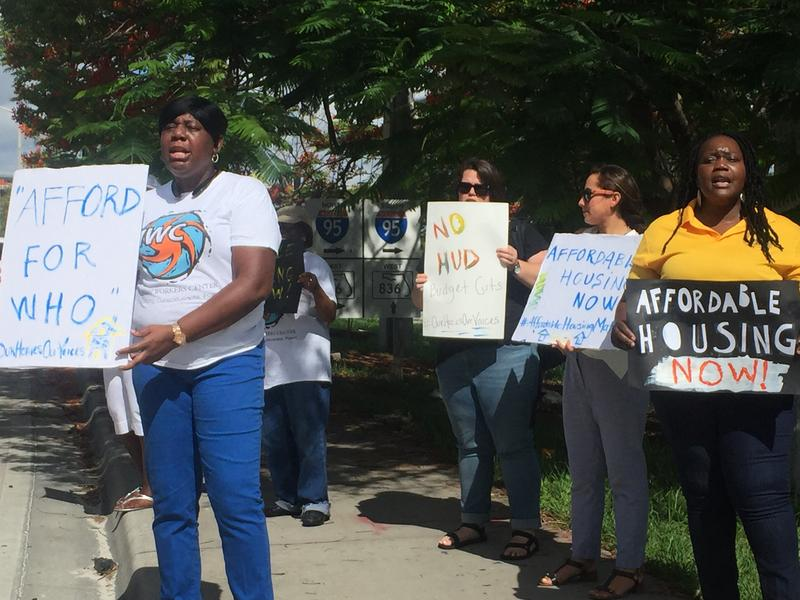 Housing advocates and local residents protest gentrification and lack of affordable housing.