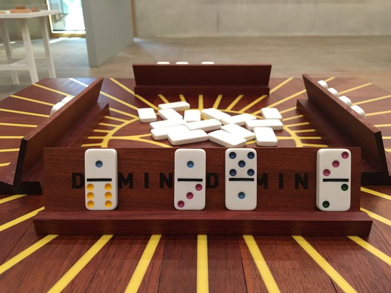 Edra Soto and Dan Sullivan's piece DominoDomino, which you can play with in the gallery.