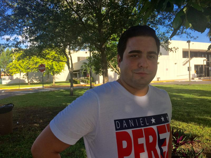 Gabriel Perez planned to spend the day at West Dade Regional Library to support his friend and District 116 candidate Daniel Perez.