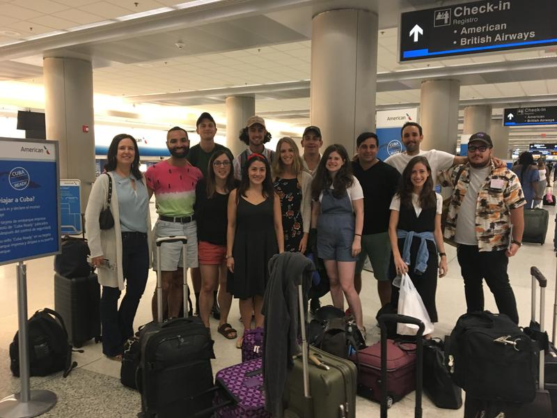The travelers take an early morning picture before taking off to Havana. They had all met the night before at a welcome dinner at Richard Blanco's childhood home.