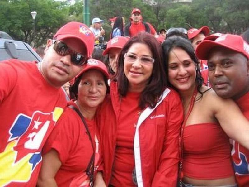 Alleged Venezuelan drug-trafficker Yazenky Lamas (left) with Venezuelan First Lady Cilia Flores (center, in glasses) and Venezuelan friends before Lamas' arrest in Colombia last year.