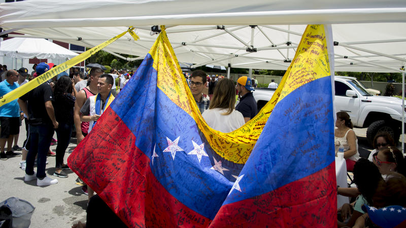 Venezuelan flags were seen everywhere in the two voting locations in Doral.