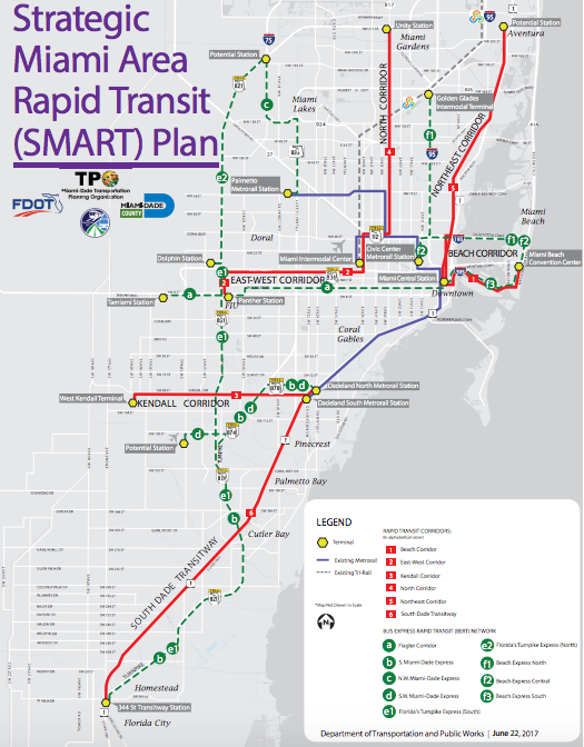 Red Lines Indicate The Six High Traffic Corridors Targeted By Miami Dade S Smart Plan For Transit