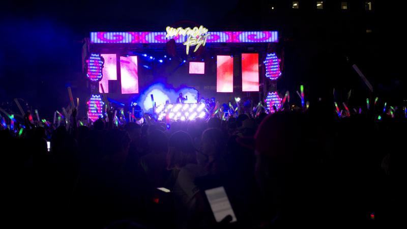 Antendees enthusiastically danced to synchronized lights on FIU's SummerFest's stage