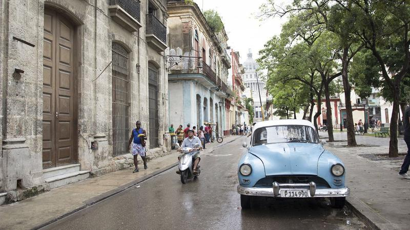 Vintage car along the Plaza de Cristo in Havana