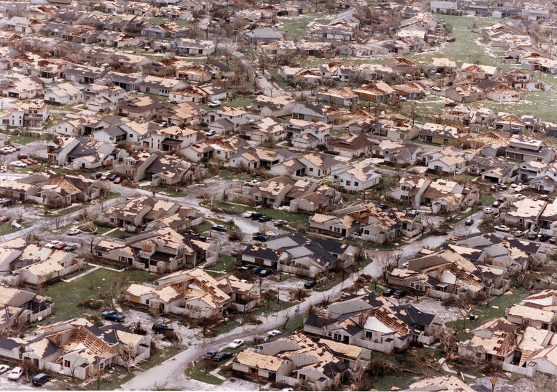 Aerial view of destruction caused by Hurricane Andrew.