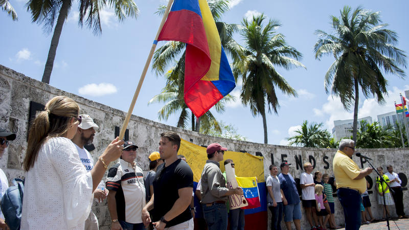 Open-Mic Protest in Downtown Miami attracts local civil rights activists and community leaders to discuss the Venezuelan crisis
