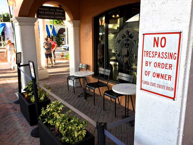 Body brokers used to target recovering drug users frequently hanging out on the patio of a Delray Beach Starbucks. The coffee shop restricted access to the patio in 2015 after a meeting with the city officials and the police department. July 27, 2017.