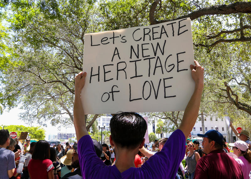 Demonstrators at a rally held before the Hollywood Commission meeting where it was decided to rename streets that bear the names of Confederate generals.