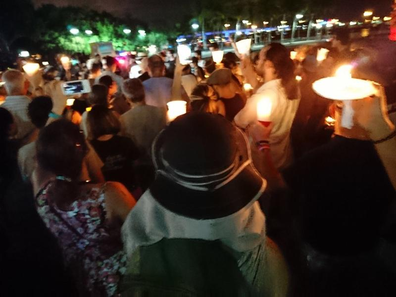 Participants of the vigil in Miami kept a moment of silent for the three victims that died in Charlottesville on Saturday.
