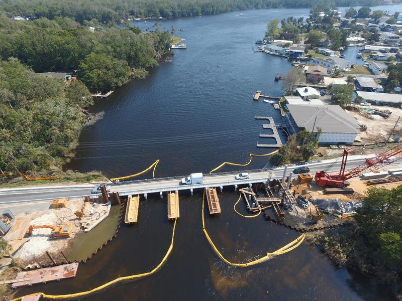 When construction is complete, the Halls River Bridge in Homosassa, near Tampa, will include components made with glass-based rebar and SEACON.