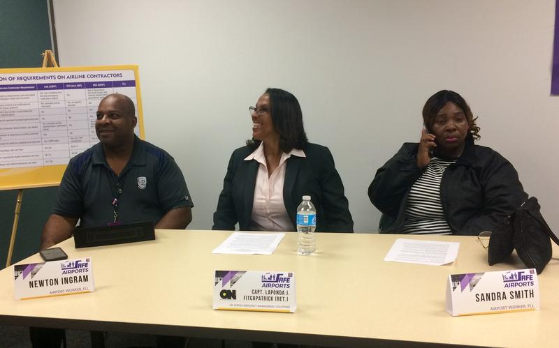 Newton Ingram, Capt. LaPonda Fitchpatrick, and Sandra Smith all participated in a panel for safer airports Thursday.