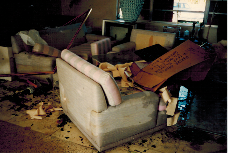Photo taken the day after Hurricane Andrew in what remained of the living room of Natalee Thornburgh's family.