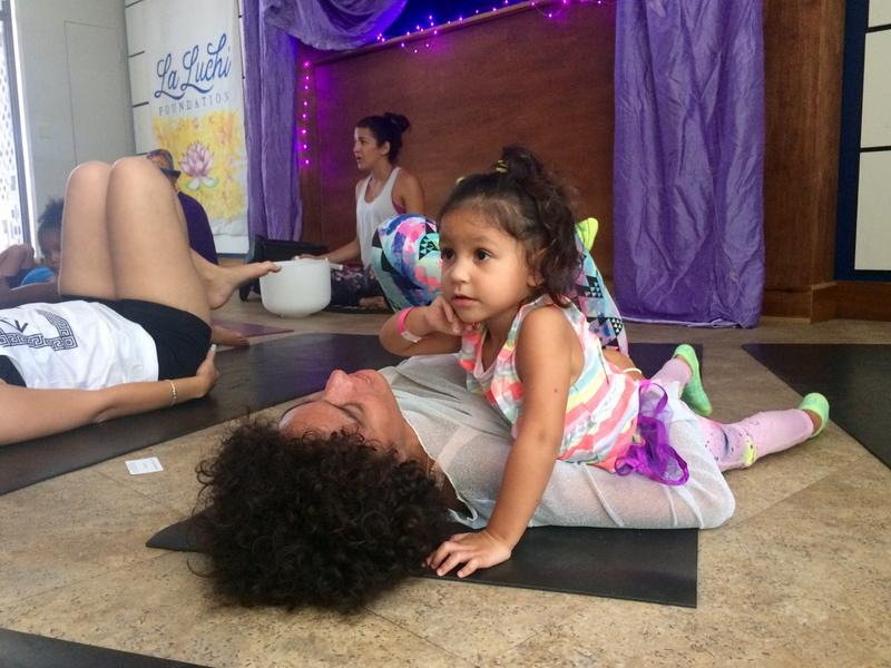 Nia Perez Herrera and her daughter Stella, 2, frequently do yoga together.