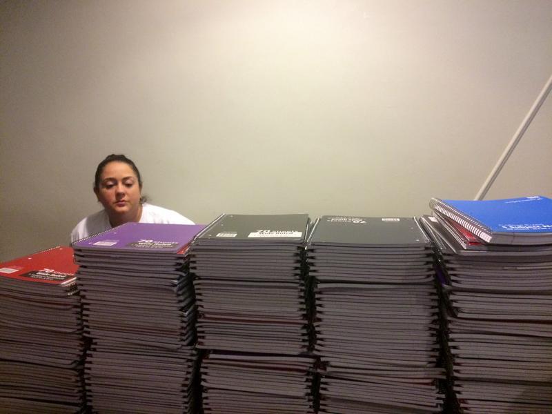 Day one consisted of putting together the assembly line. Day two was backpack stuffing day.