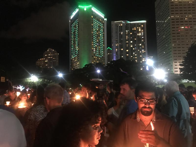 "Close to 200 people gathered in downtown Miami for an ""Emergency Vigil."""