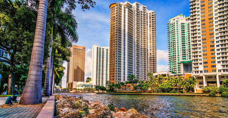 The Miami Riverwalk meanders along the Miami River and Biscayne Bay. Miami-Dade County is one of the top Airbnb destinations in the U.S.