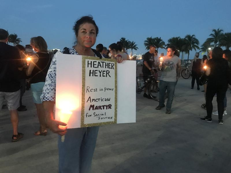 Mary Kay Gaffney attended this week's peace vigil in Miami's Bayfront Park. Heather Heyer was killed when a driver plowed through counter-protesters at a white nationalist march in Charlottesville.