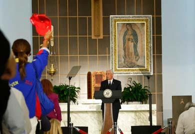 Vice President Mike Pence speaks at Our Lady of Guadalupe Catholic Church, Wednesday, Aug. 23, 2017, in Doral, Fla.
