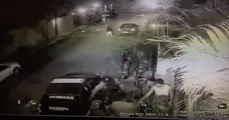 Leopoldo Lopez's wife, Lilian Tintori, posted on social media this video of police forces taking her husband after 1 a.m.