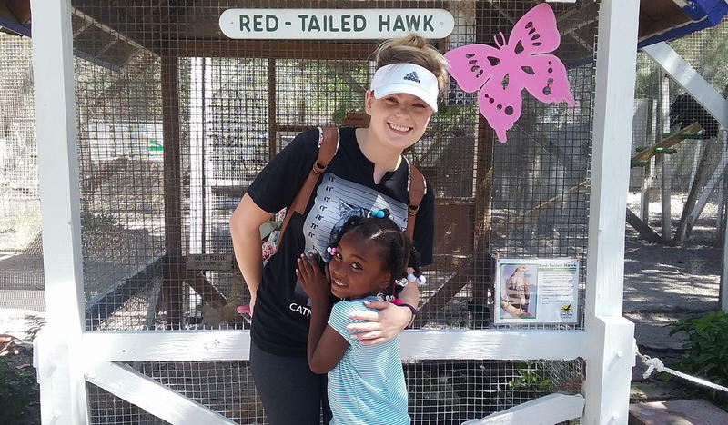 Maximo Elementary School teacher Victoria Rhodes and student Kleanish Reynolds on a recent field trip to the Seaside Seabird Sanctuary In Indian Shores.