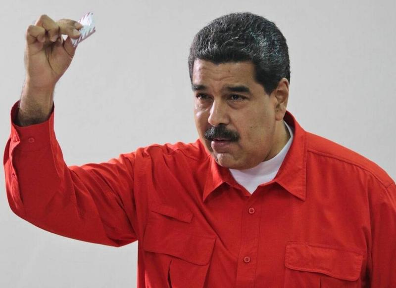 Venezuelan President Nicolas Maduro voting in Sunday's constitutional rewrite referendum.
