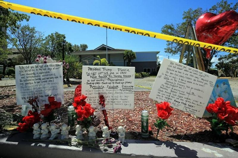A memorial to the patients who died at a Hollywood nursing home that lost air conditioning during Hurricane Irma.