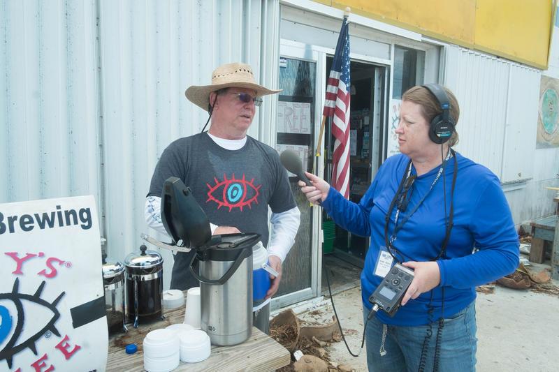 Reporter Nancy Klingener (right) working after Hurricane Irma.