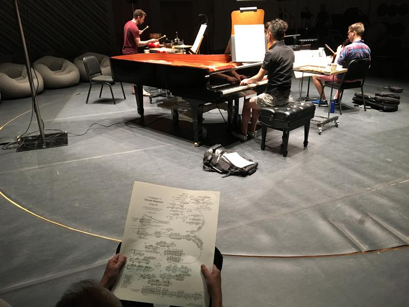 "New World Symphony fellows rehearse a section of George Crumb's ""Dream Sequence"""
