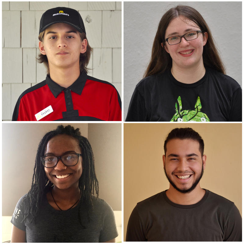 Andres Baquero (16), Zoe Stephan (18), Colby Essue (17), and Harold Valderrama (19) are part of a shrinking proportion of teenagers who are part of the workforce.