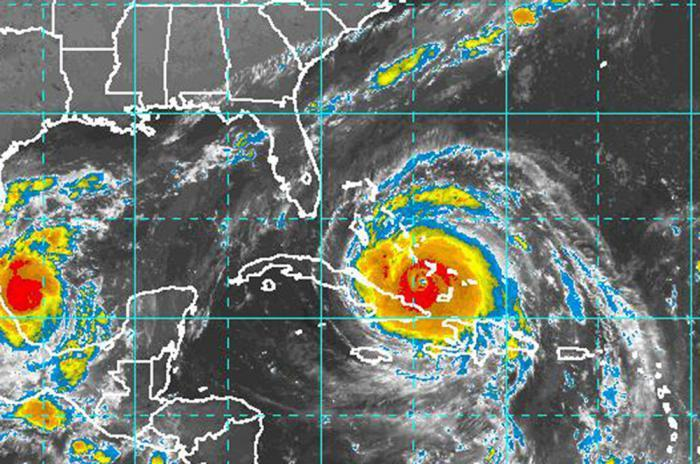 Satellite image of Hurricane Irma making contact with Cuba on Friday.