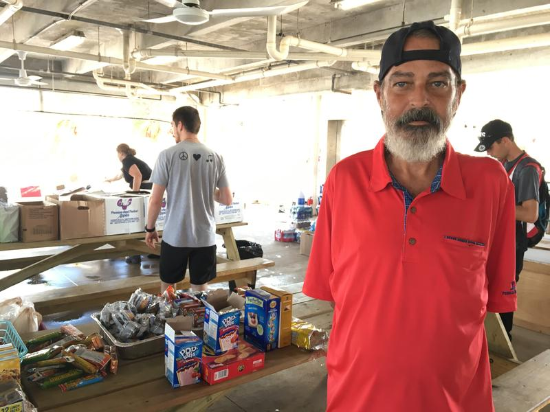 Dean Thomson lived on a boat off Key West. Now he's staying at a shelter on Summerland Key but intends to return to Key West when he can.