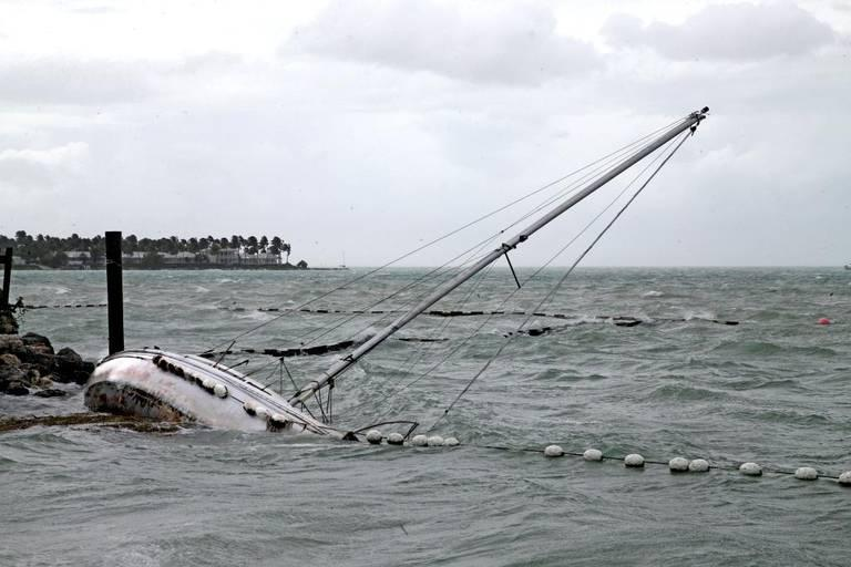 A sailboat crashes on the shore near Mallory Square in Key West as Hurricane Irma swept through the Florida Keys on Saturday, Sept. 9, 2017.