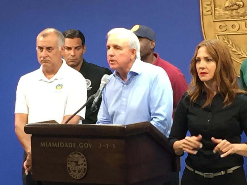 Miami Dade Mayor Carlos Gimenez speaking at the Miami-Dade Emergency Operations Center in Doral.