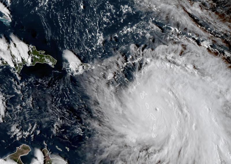 Satellite image of Hurricane Maria entering the Caribbean on Tuesday.