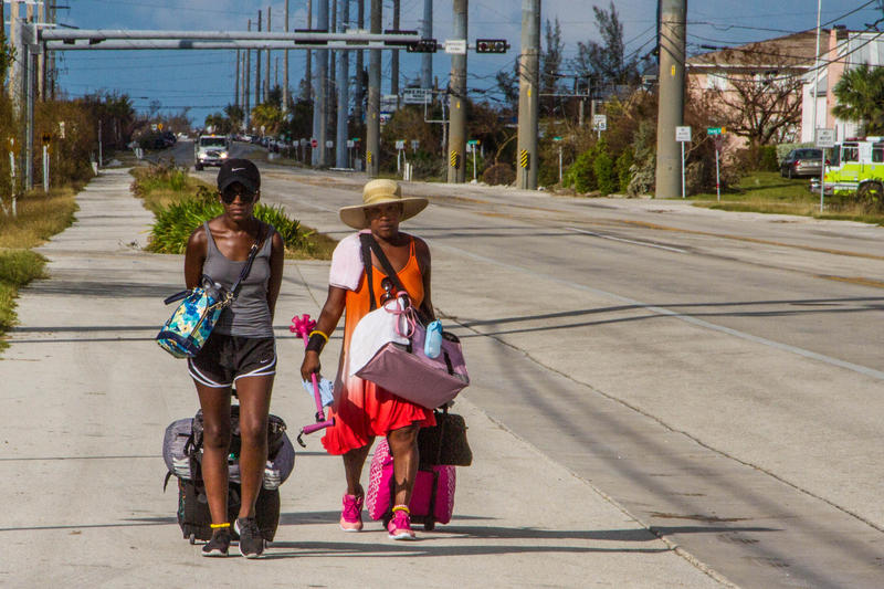 Sheree Pruitt, left, and Stacy Young decided to walk out of the Keys on Thursday, Sept. 14.