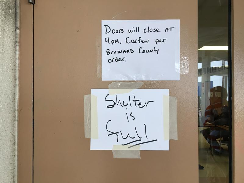 The shelter at Falcon Cove Middle School in Westin is not taking any more people.