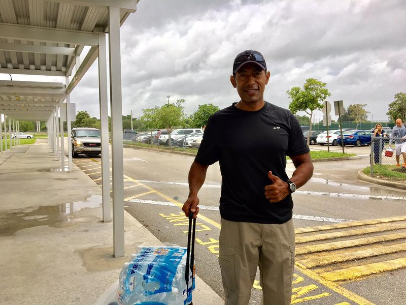 John Mejía is leaving the shelter with his family. Says with #irma moving west he thinks they can ride it out at home.