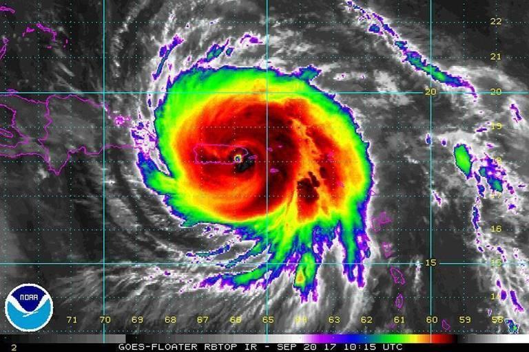 Satellite image of Hurricane Maria making landfall on Puerto Rico Wednesday morning.