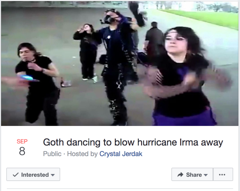 One of the Facebook events trying to ward off Hurricane Irma.