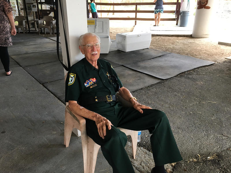 Emil LaVache, 88 years old and retired from the Monroe County Sheriff's Office, volunteered for Sunday's Animal Farm open house. He rode out the storm on Key Haven but his home on Big Coppitt was destroyed.