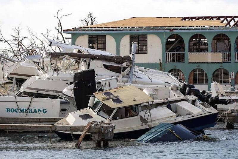 Yachts piled onto one another in the British Virgin Islands in the wake of Hurricane Irma last week.