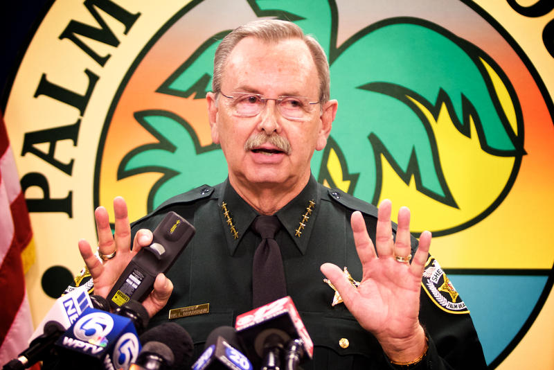 Palm Beach County Sheriff Ric Bradshaw speaks to reporters about the security operation for President Trump and Chinese President Xi Jinping's visit on April 5, 2017. Bradshaw says his county is not a sanctuary for illegal immigrants.