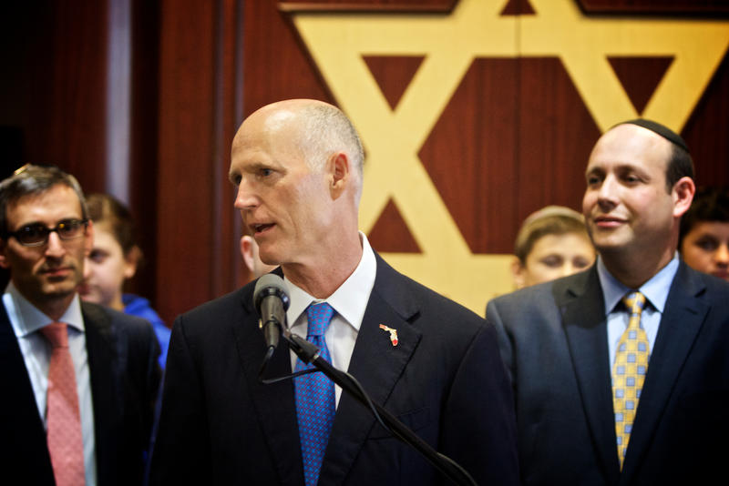 Gov. Rick Scott announces his plan during an event at the Katz Hillel Day School of Boca Raton on Monday.