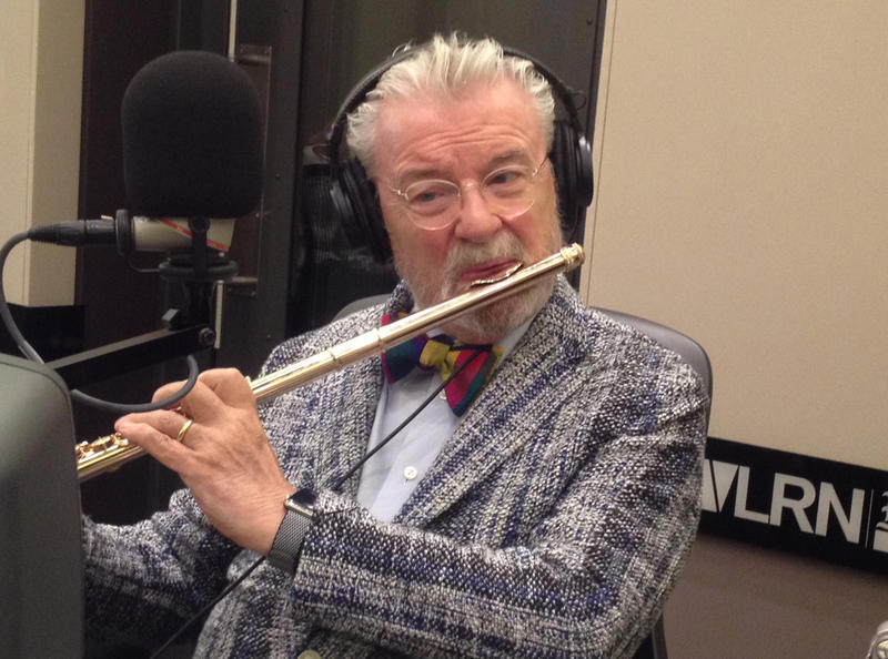 "Celebrated Irish flutist Sir James Galway, often called ""the man with the golden flute,"" visits the WLRN Studios in the Miami Herald newsroom."