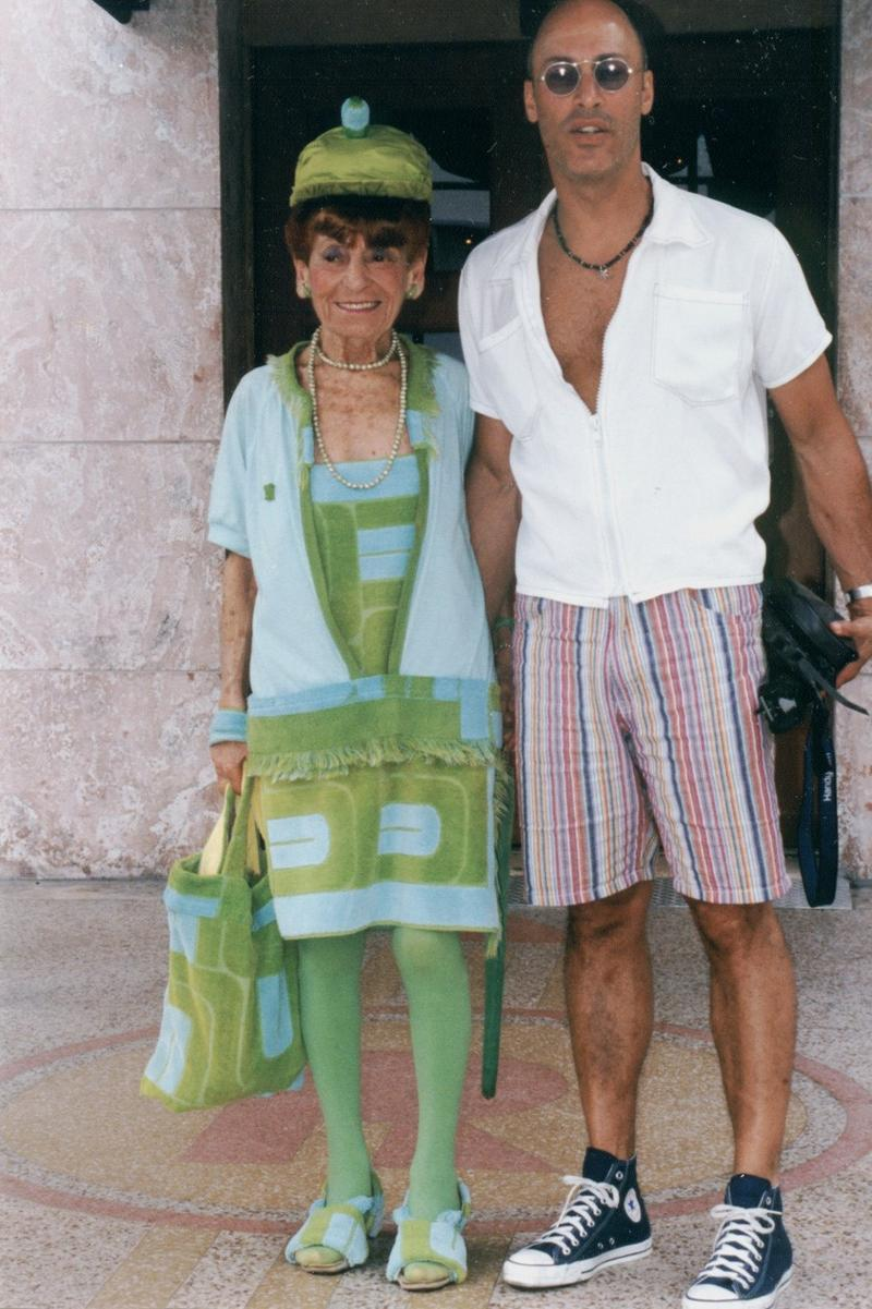 Eric Smith sent Irene Williams Pierre Cardin beach towels. As was her way, she crafted them into this outfit (the shoes!). Smith says when he saw what she'd done, he was so moved, he cried.