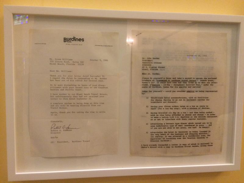 Complaint letter to Burdines, the Florida department store, with response. (On display at the Jewish Museum of Florida)